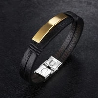 2021 trend gifts for men length 190mm fashion pu leather and titanium steel mens bracelets black silvery golden jewelry