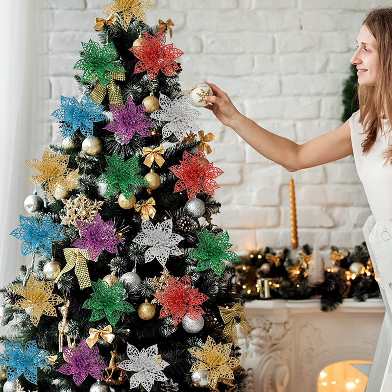 Украшение для рождественской елки, искусственные рождественские цветы, блестящие искусственные цветы, украшения для рождественской елки, ...