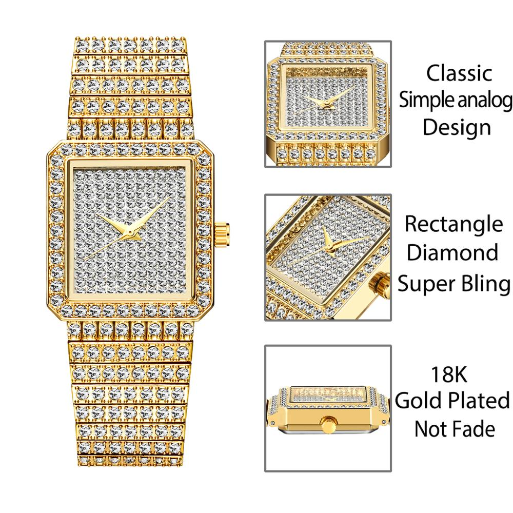 MISSFOX Rectangular Women's Stainless Steel Watch Analog Display Japan Quartz Movt Eight-link Diamond Bracelet Gold-tone Watch enlarge