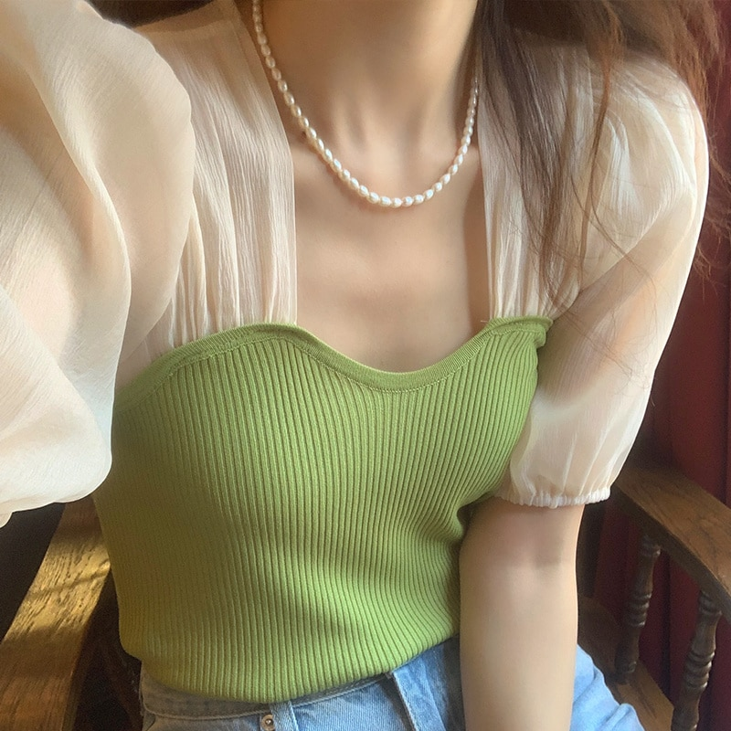 Summer Retro Collar Leaking Clavicle Hit Color Stitching Slim Puff Sleeve Fake Two-piece Sweater Top