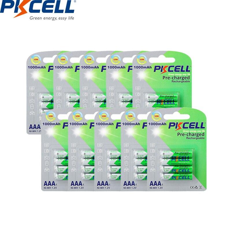 PKCELL 40 uds/10 tarjeta aaa 1000mah 1,2 v NIMH batería aaa recargable hasta 1200 círculo veces baja baterías de autodescarga