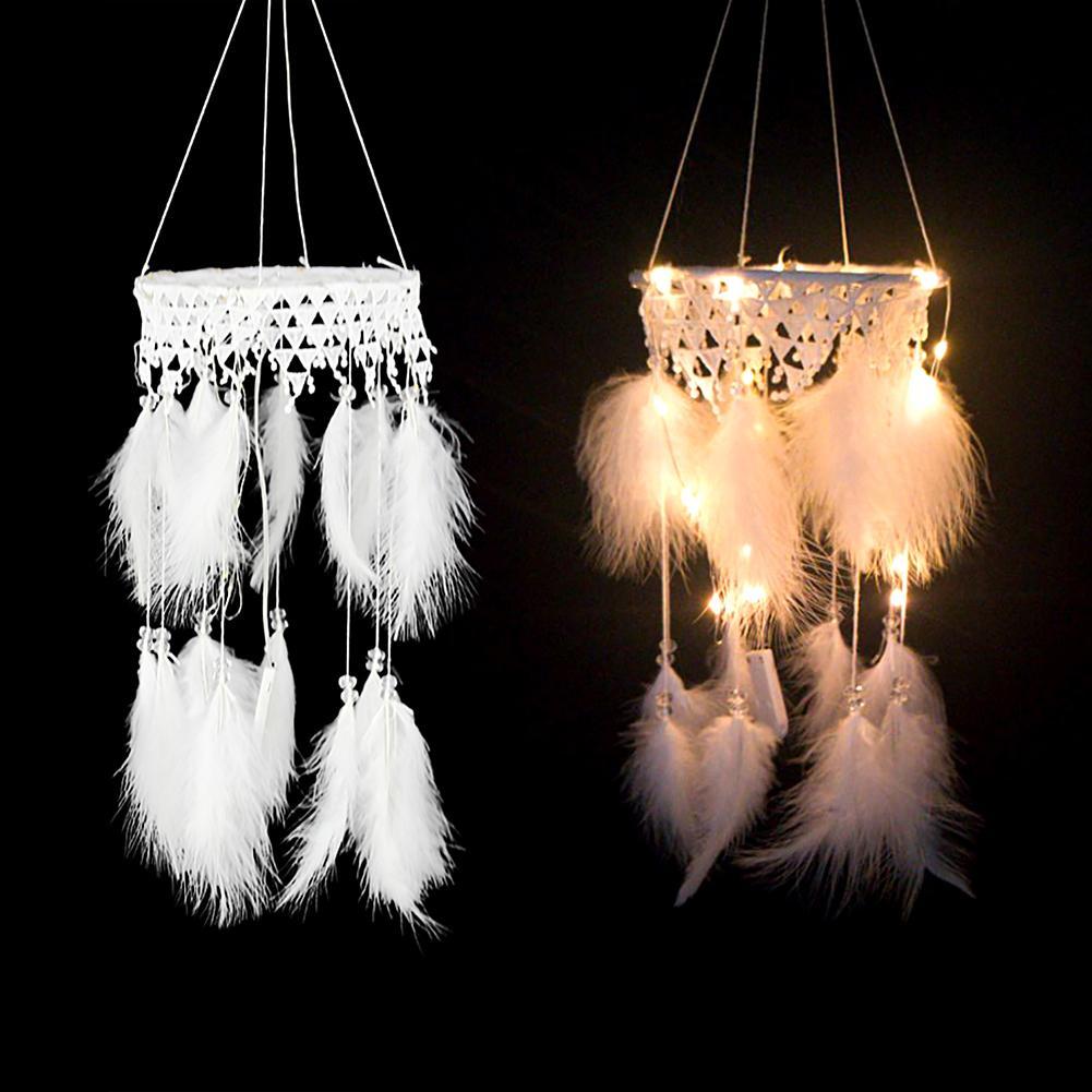 Colorido trabajo manual, tejido cazador de sueños de plumas LED Cadena de luz colgante de pared ornamentos colgante artesanal decoración del vestíbulo