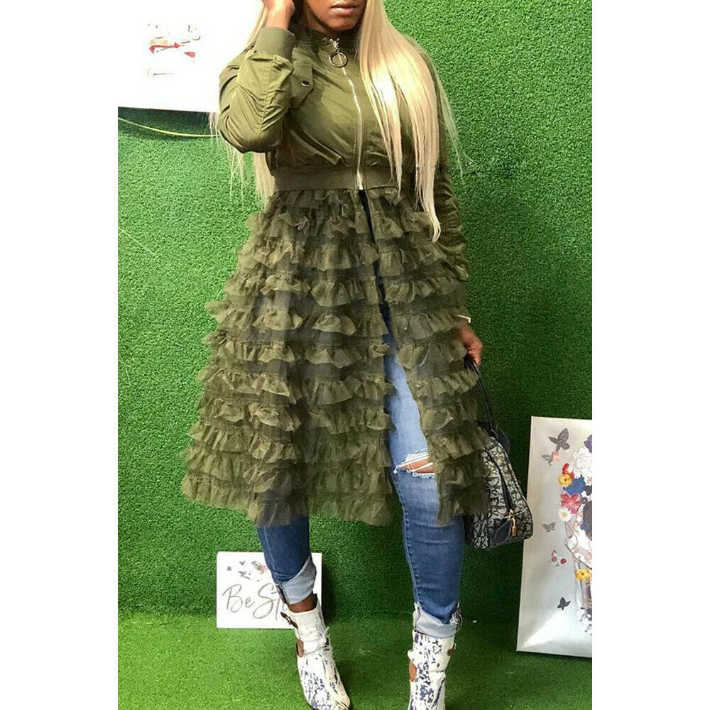 Mujeres de manga larga con cremallera Casual con volantes de malla transparente de retazos Chaqueta larga abrigo mujer sólido otoño chaquetas