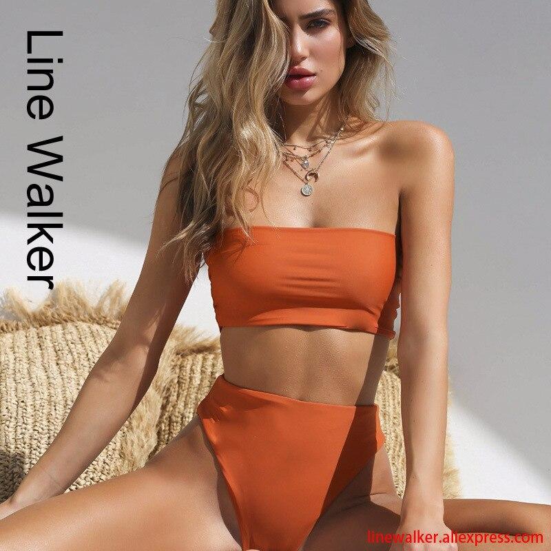 Sexy conjunto de Bikini sólido de alta cintura traje de baño de las mujeres de tubo superior Bikinis traje de baño femenino nuevo traje de baño de la playa Biquini Mujer