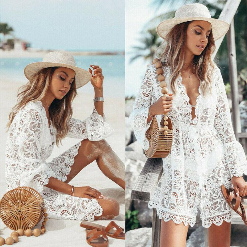 Lace Floral Crochet Mini Dress Bikini Cover Up Sexy Women Long Sleeve Deep V Neck Beachwear Summer Swim Casual Solid Dresses