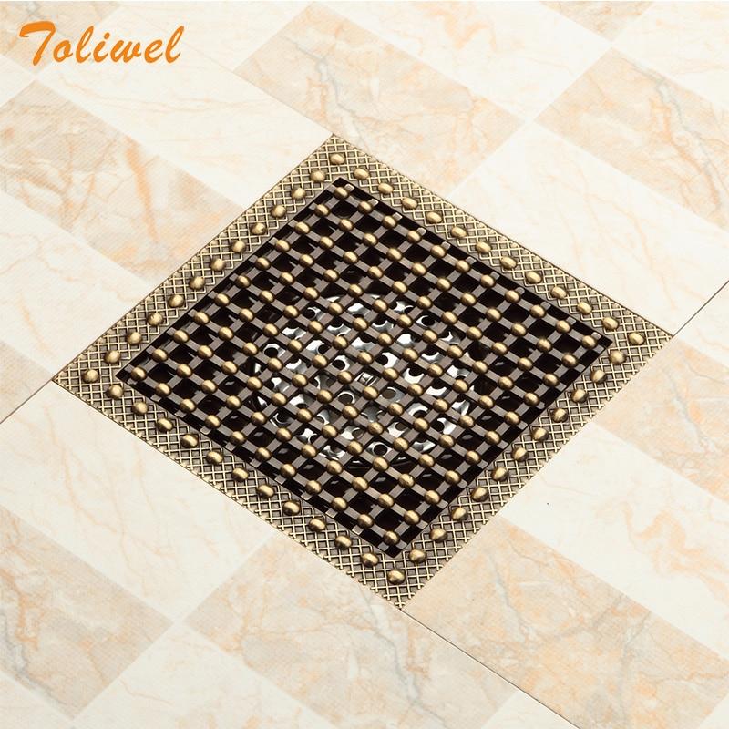 15x15 כיכר אמבטיה מקלחת ניקוז רצפת ניקוז מלכודת עתיק פליז רשת ניקוז