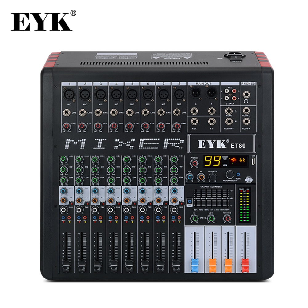 EYK ET80 8 قنوات المهنية جهاز مزج الصوت dj استوديو 7 الفرقة EQ 99DSP USB بلوبوث تسجيل خلط وحدة التحكم مع AUX FX الإخراج