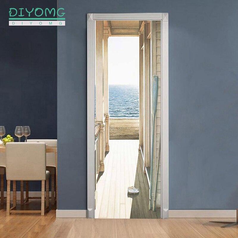 77x200cm 3D Door Stickers DIY art For Living Room Bedroom self-Adhesive Waterproof Wall Murals Removable Wallpaper Home Decor