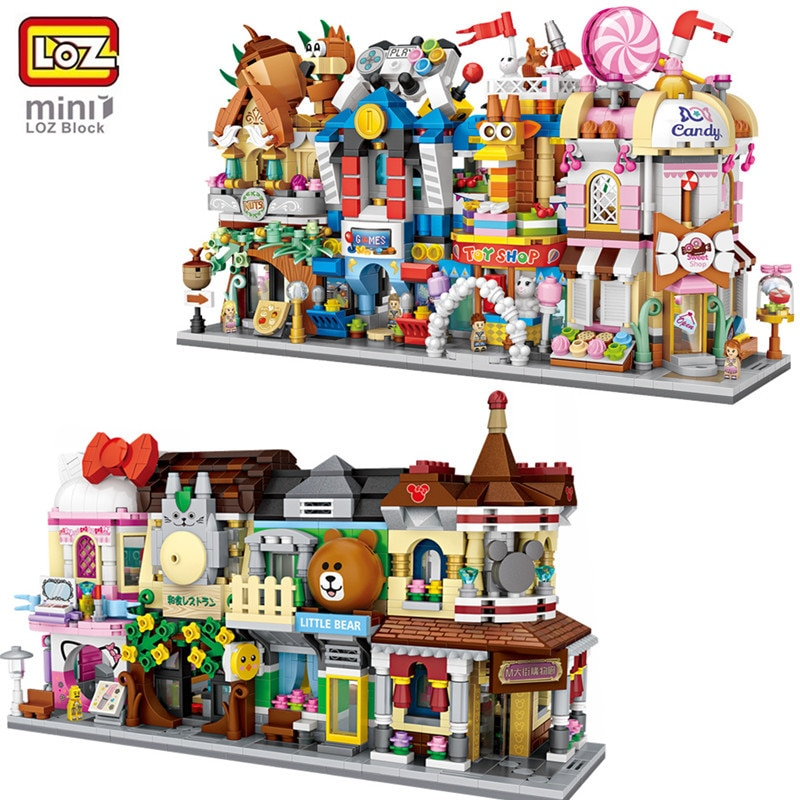 LOZ Mini Bricks City View Scene Mini Street Model Building Block Toys Gaming Room Candy Shop Toy Store Architecture Children DIY 280 pcs mini city street view building blocks coffee shop hamburger store city diy bricks toys for children christmas gifts