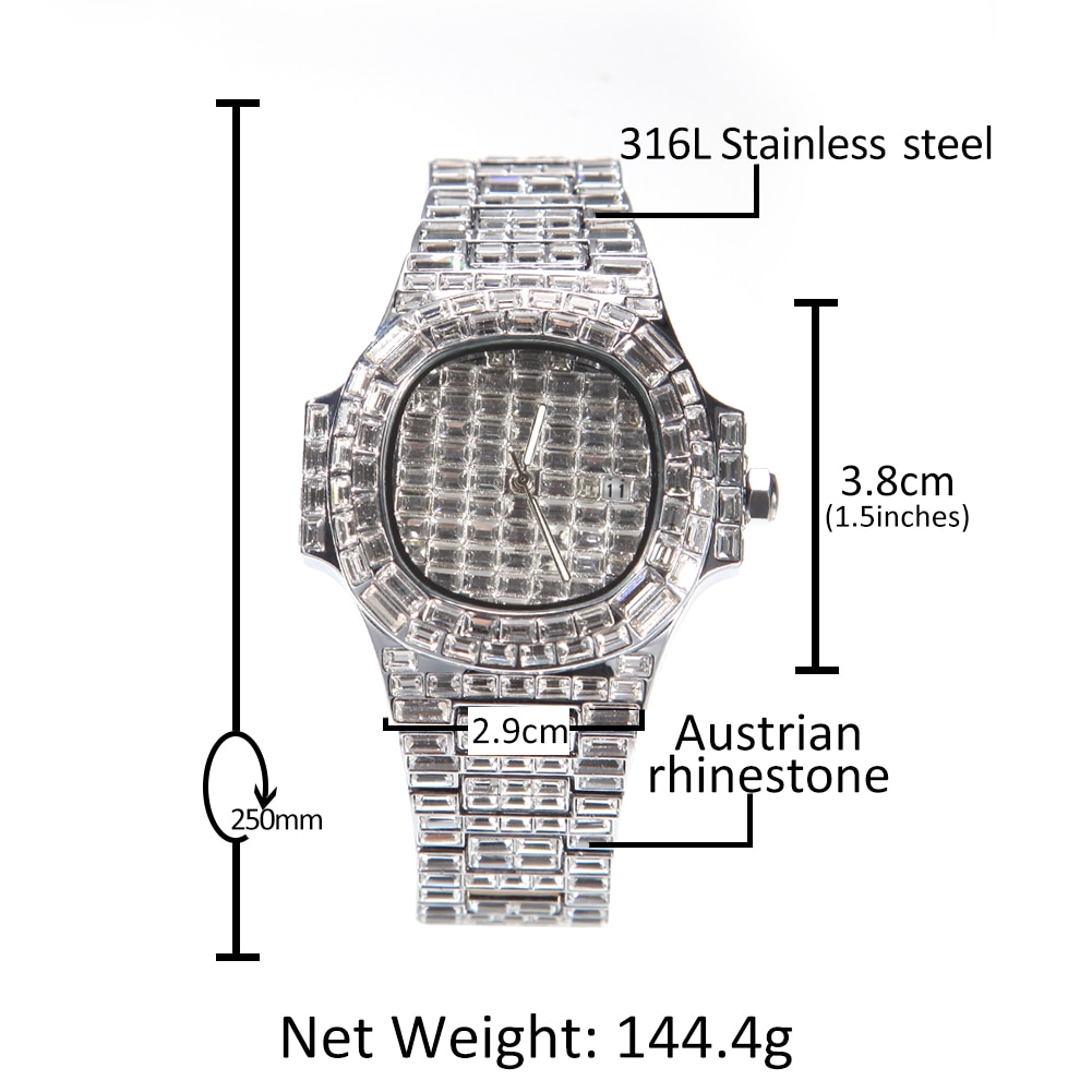 Fashion Square Dial Watch Full Baguette CZ Iced Out Silver Color Quartz Wrist Watches For Men Hip Hop Accessories Gifts For Men enlarge