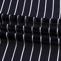 75d high twist chiffon fabric diy womens fashion dress fabric dark blue striped printed fabric wholesale