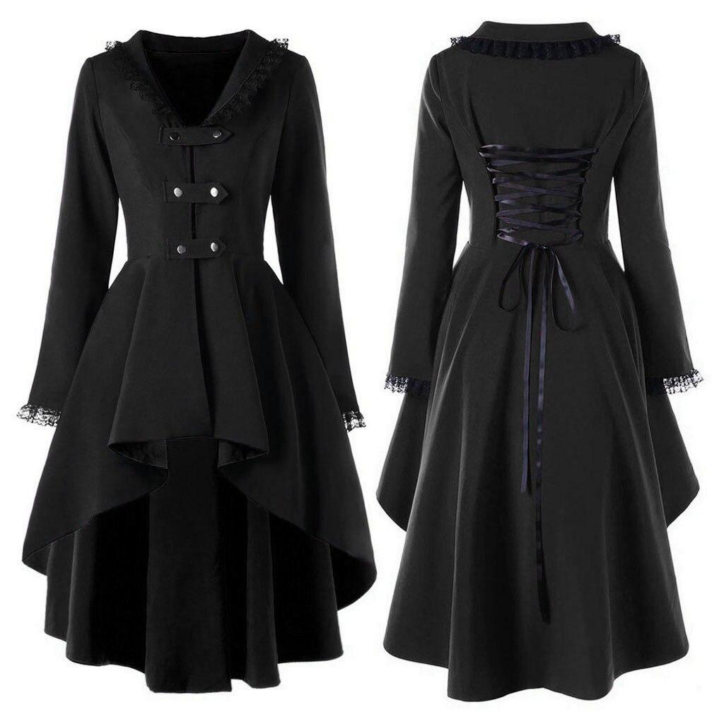 2019 New Fashion Gothic Vintage Mid-long Trench Coat Women Black Slim Belt Cloak Mujer Windbreaker Female Abrigos Brazil#G7