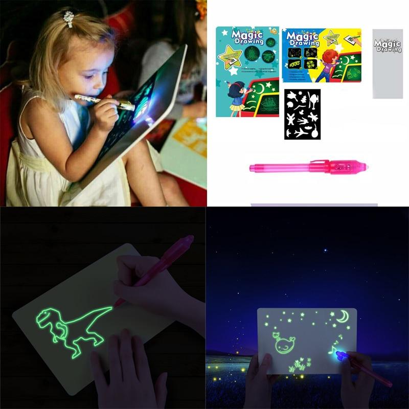 Dibujo A3 A4 A5 con luz nocturna en la oscuridad, Juguetes Divertidos para niños, juego de escritura de magia, tablero para dibujar magia educativa