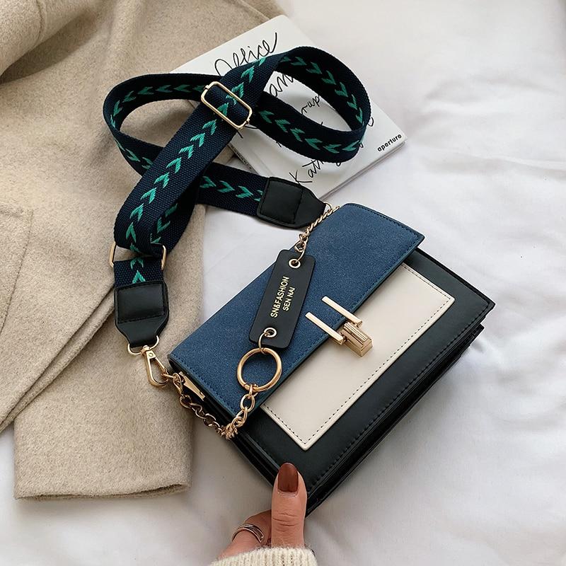 2020 nuevo Mini bolsos correa de hombro ancho de mensajero bolsa monedero Simple estilo bandolera, bolsas de moda Ins Ultra fuego Retro de las mujeres PU