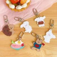 cartoon cute rabbit bear bag accessory kawaii korea fashion girls key chain ring children gift bag sccessories dropshipping