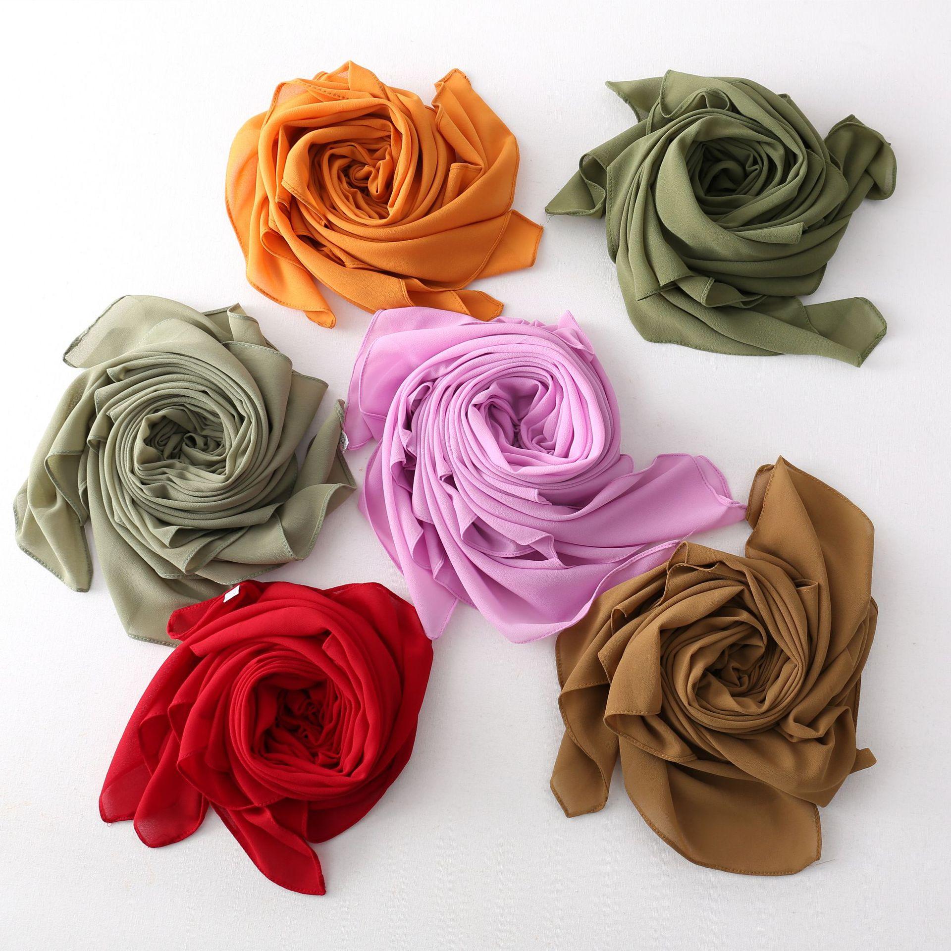 110*110cm Square Muslim Chiffon Hijab Scarf Women Malaysiya Hijabs Scarves Turban Plain Islamic Shawls and Wraps Headband Femme premium floral printed chiffon hijab scarf women muslim headscarf shawls and wraps islamic scarves turban headband foulard femme