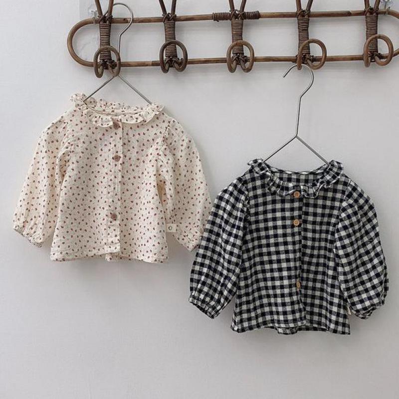 ¡Novedad de otoño 2020! Blusa Floral para bebés, camisa de manga larga para niños, Tops a cuadros de algodón para niños, blusas para niñas pequeñas, ropa