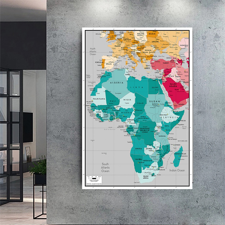 150*225 cm The Africa Political Map Wall Art Poster Non-woven Canvas Painting Living Room Home Decoration School Supplies