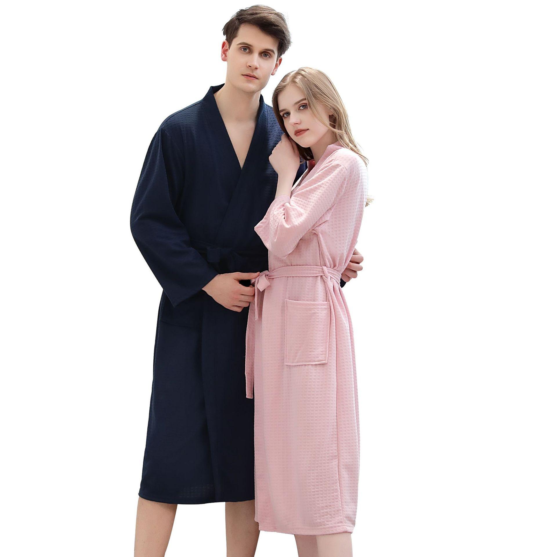 Весенне-осенние мужские банные халаты пижамы женские абсорбирующие дышащие пижамные халаты мужские и женские пижамы