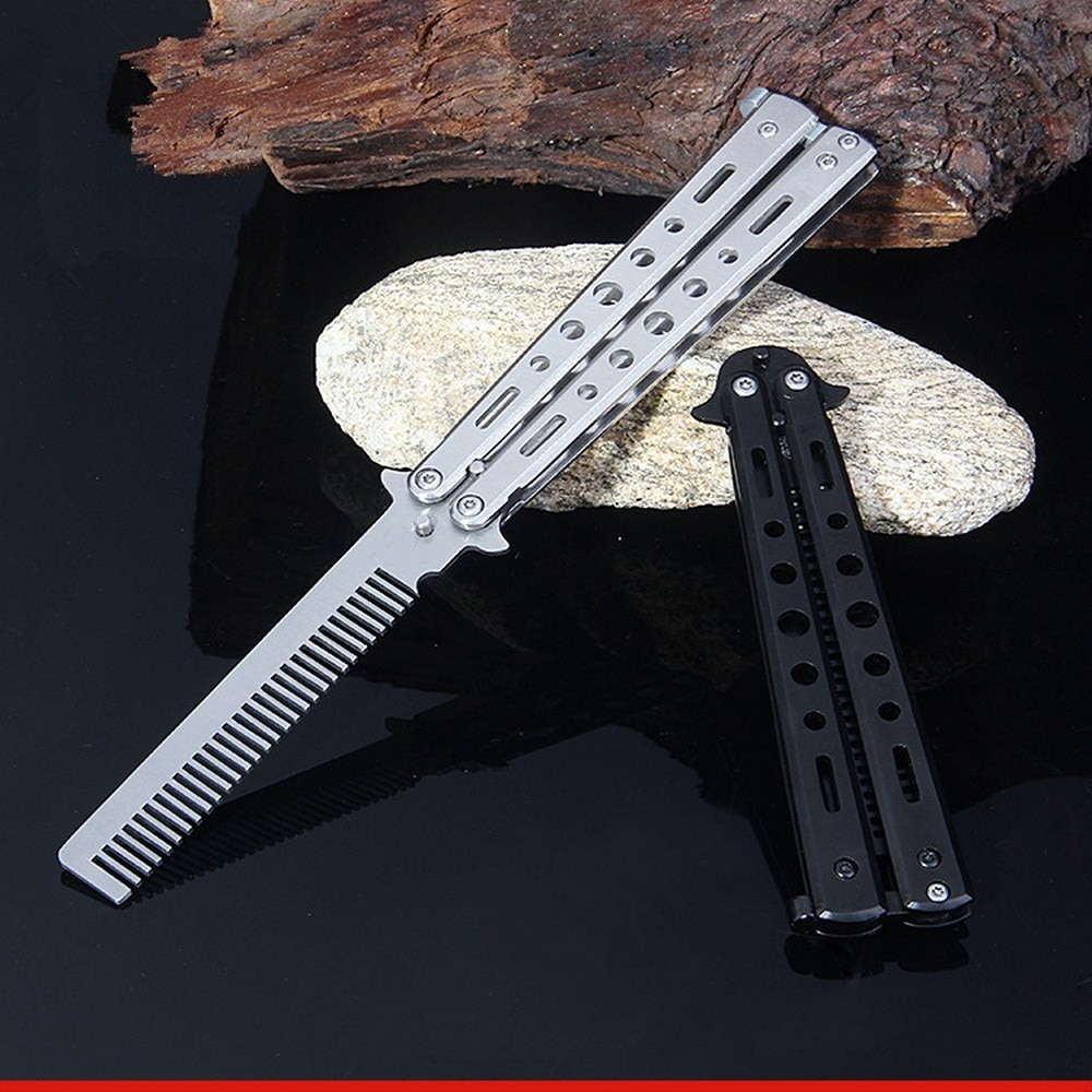 training salon stainless steel butterfly comb sling knife safety training knife novice blade practice comb for novices Stainless Steel Butterfly Comb Foldable Haircut Comb Shape Practice Tool Bladeless Blunt Training Knife Kit Accessories