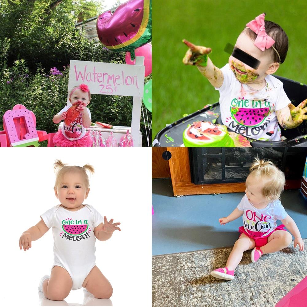 Um em um melão primeiro aniversário do bebê bodysuits bebê menina onesie melancia aniversário camiseta meninas primeiro aniversário melancia ropa