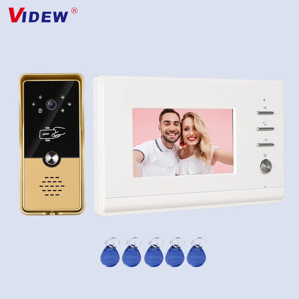 VIDEW Wired Video Doorbell Intercom System RFID Unlock Camera Doorbell with 4.3 Inch Monitor Night Vision Door Entry for Villa inhidaihd d110 24 melody wired doorbell white 3 x aa