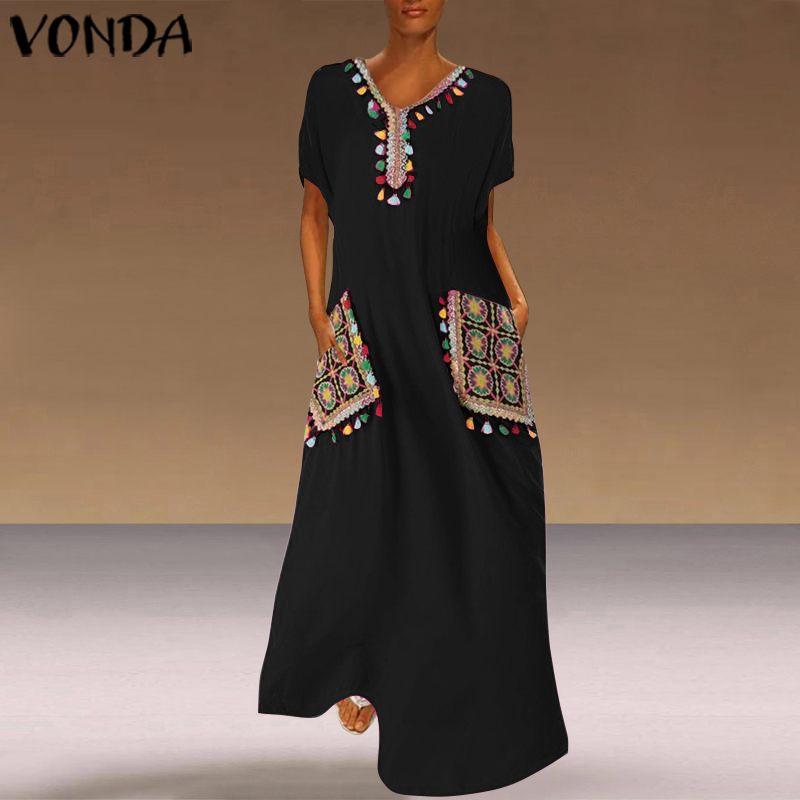 VONDA Bohemian Printed Dress Vintage Party Maxi Long Dress Casual Loose Short Sleeve Beach Sundress Plus Size Vestido Femme Robe