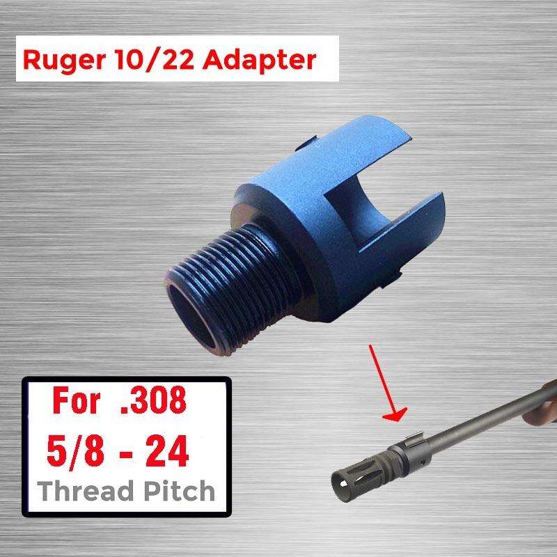 "Adaptador roscado de extremo de barril 5/8x24 para adaptador de rosca Ruger 10/22 adaptador de tubo de acero de aleación CNC 5/8-24 5/8 ""x24"