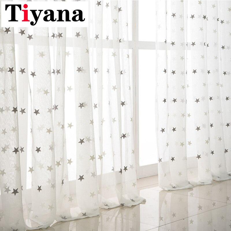 Szare haftowane gwiazdy woal zasłony do salonu sypialnia Sheer zasłony różowy tiul materiał na zasłony zasłony P159Z