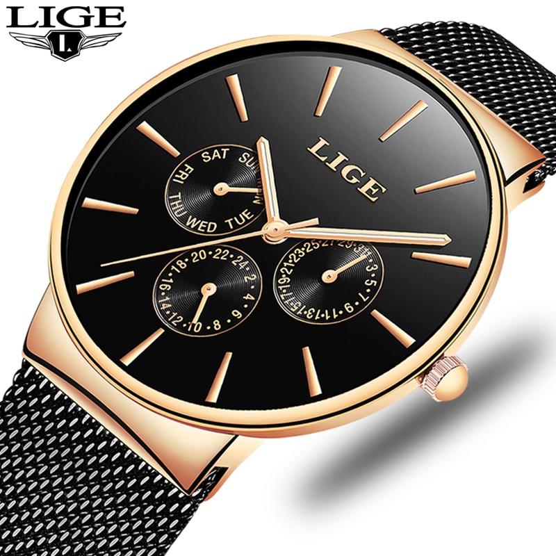 2020 Watches Women Super Slim Mesh Stainless Steel LIGE Top Brand Luxury Casual Quartz Clock Ladies WristWatch Relogio Feminino enlarge