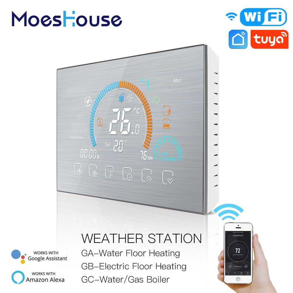 combo bluetooth wireless magnetic monitor smart sensor data logger temperature humidity controller thermostat weather station WiFi Thermostat Programmable Temperature Controller Underfloor Water/Gas Boiler Weather Station Tuya Smart Alexa Voice Control