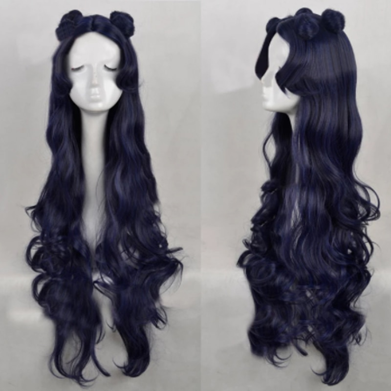 Luna Blue Black Mixed Long Curly Cosplay Wig With Buns + Free Wig Cap