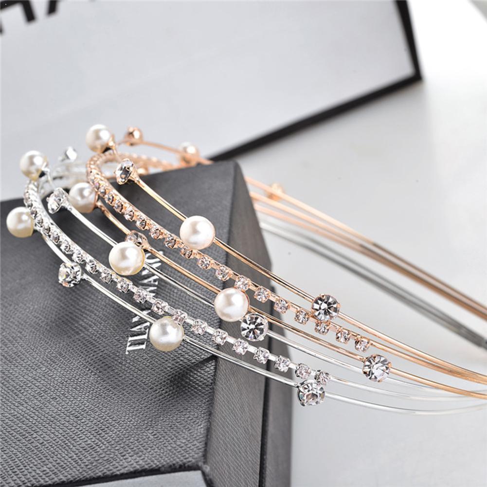 Diadema con diamantes de imitación y perlas dulces, horquilla de diadema, flequillo