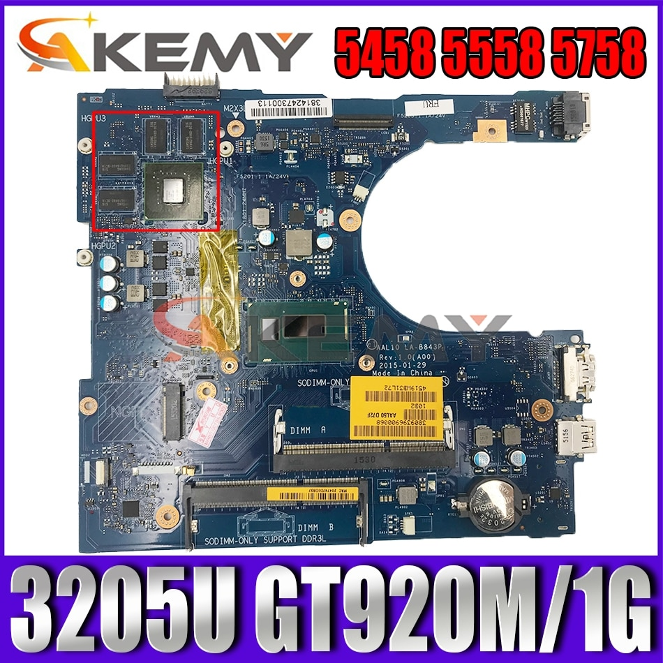 Akemy AAL10 LA-B843P REV:1.0(A00) 3205U 920M/1GB لديل انسبايرون 5458 5558 5758 اللوحة الأم للكمبيوتر المحمول CN-0F0T2K F0T2K