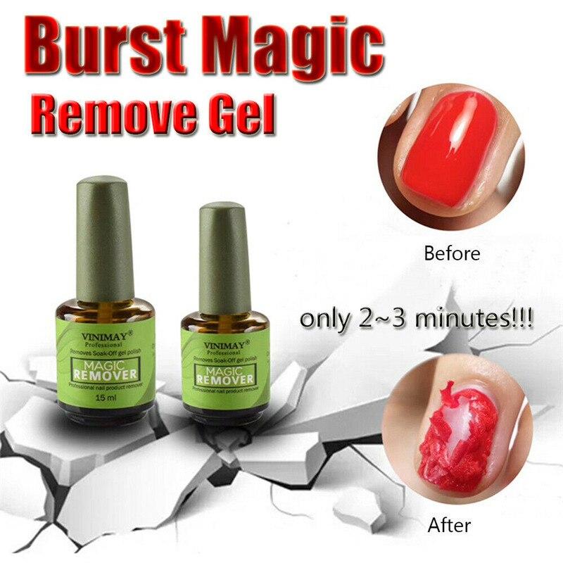 New Burst Magic Nail Polish Remove Gel Acrylic Soak Off Clean Degreaser 15Ml Nail Polish vrenmol 7ml 2 minutes burst burst remove gel layer residue 7ml nail acrylic remover degreaser