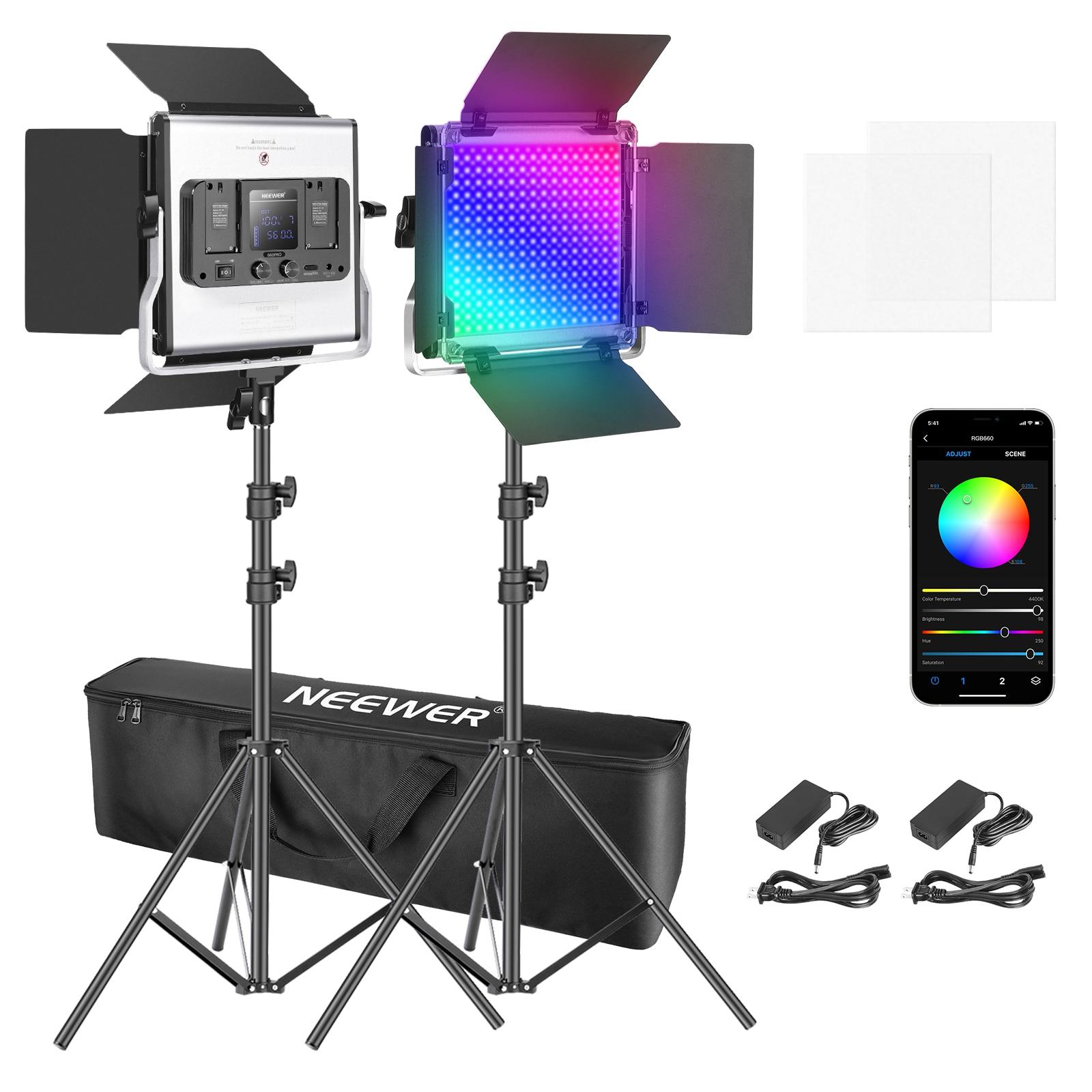 Neewer 660 RGB Led Light ، مجموعة إضاءة فيديو التصوير الفوتوغرافي مع حامل وحقيبة ، 2 حزمة