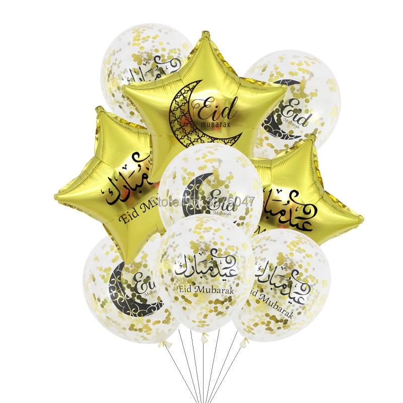Eid mubarak ballon Islam Muslim neue jahr festival party dekoration klar gold silber konfetti folie stern gedruckt ballon banner