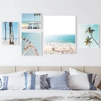california beach van canvas painting ferris wheel print decoration pictures tropical palm poster pastel color wall art nordic