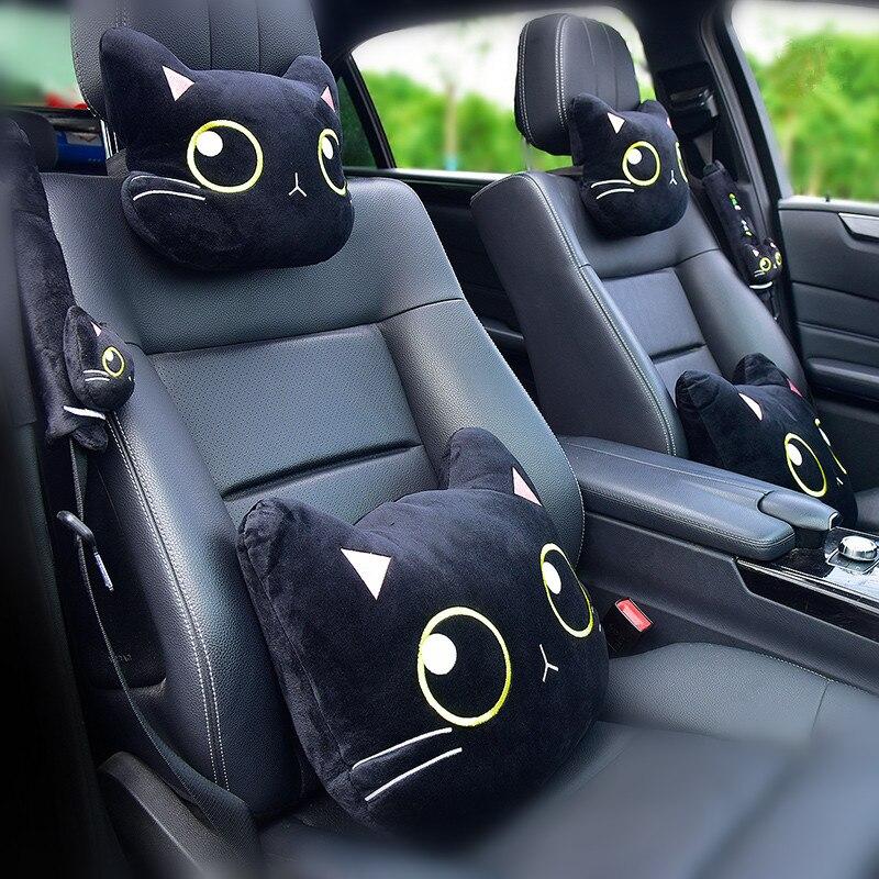 Подушка для шеи в автомобиль с милым котом, подушка для подголовника в автомобиле, дорожная подушка в виде кошки, ремень безопасности, Напле...