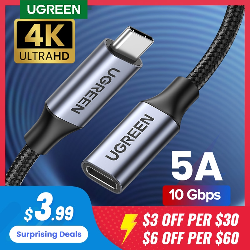 UGREEN-Cable de extensión USB tipo C macho a hembra, extensor Thunderbolt 3...