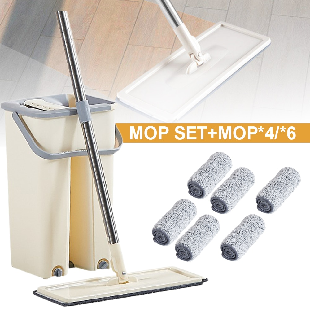 flat mop high quality aluminum alloy mop floor mop cleaning tool stainless steel rod 360° Rotating Flat Mop with Bucket Set Hands Free Squeeze Mop for Floor Cleaning with Stainless Steel Handle 4/6 Mop Pads