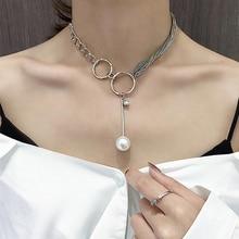 YAOLOGE nouveau Design Baroque perle pendentifs collier Simple sauvage élégant charme perle collier pour femmes fille fête bijoux de mariage