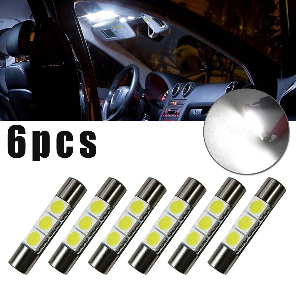 Nueva alta calidad 6 uds Xenon blanco 5050 3-SMD 6641 6614F bombilla LED visera espejo fusible luces