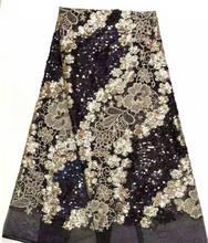 Guipur bordado francés encaje tela 2019 negro lentejuelas tela Material tul malla encaje vestido africano lentejuelas encaje ropa