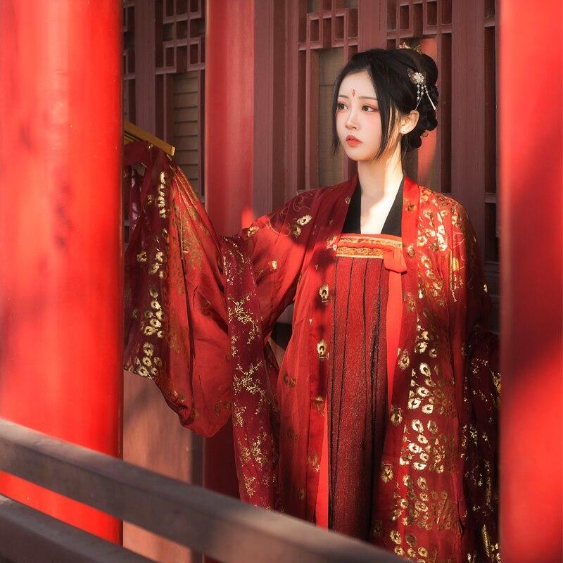 جديد Hanfu فستان الصيف النمط الصيني الجنية الملابس وي جين/هان/تانغ سلالة الزفاف القديمة كبيرة الأكمام عباءة الأحمر Hanfu VO917