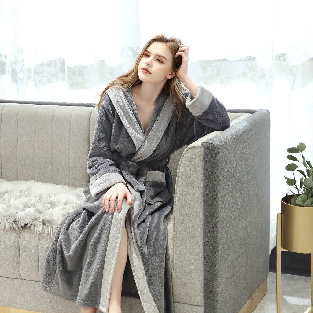 Thicken Warm Couple franela Robe invierno de manga larga Albornoz Sexy mujeres hombres camisón Lounge ropa de dormir ropa de casa #35
