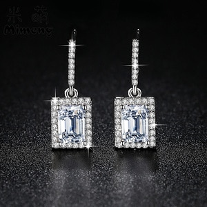 TW262    Simple fashionable square Zircon Earrings