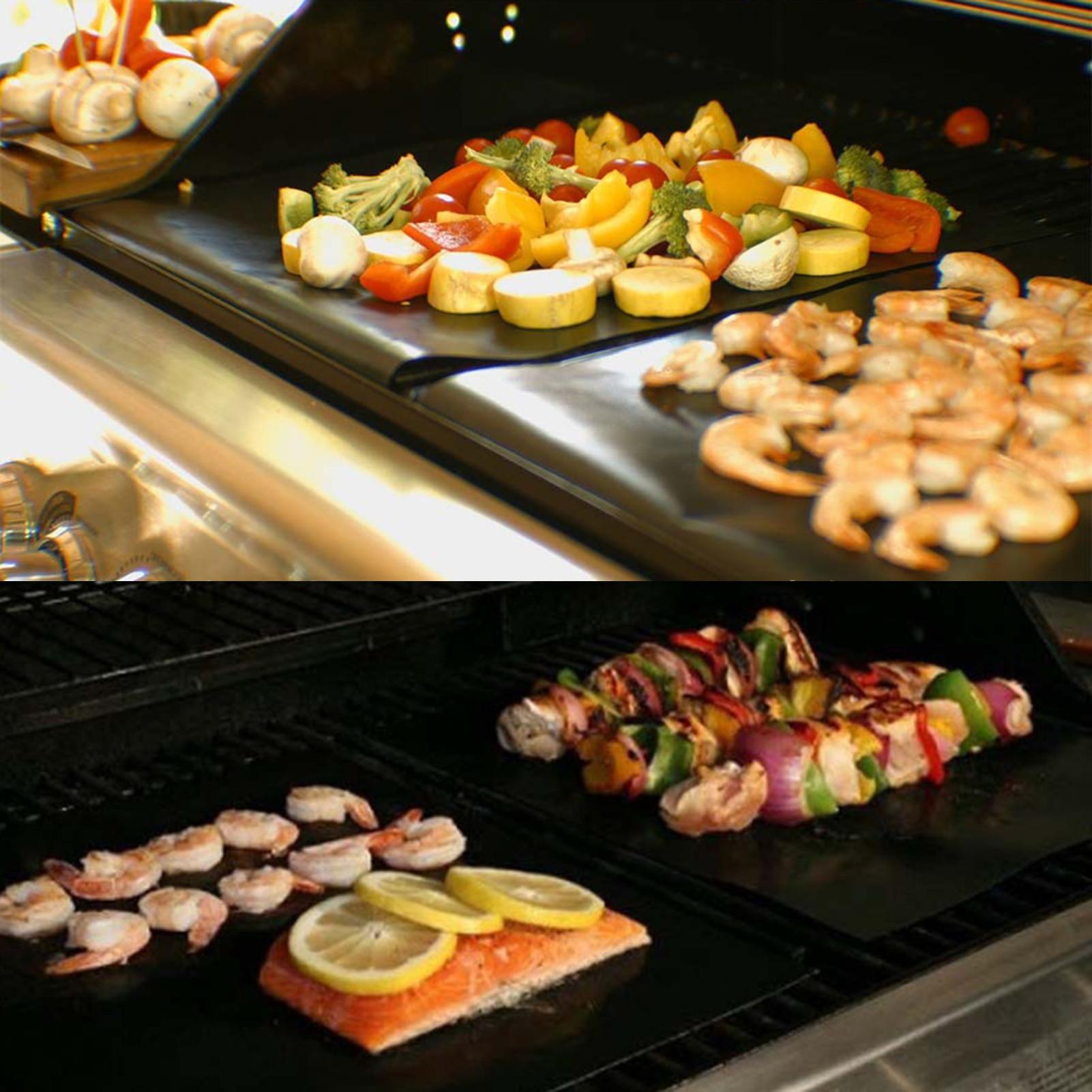 Reusable Non-Stick BBQ Grill Mat Baking Sheet Portable Picnic Barbecue Oven Tool