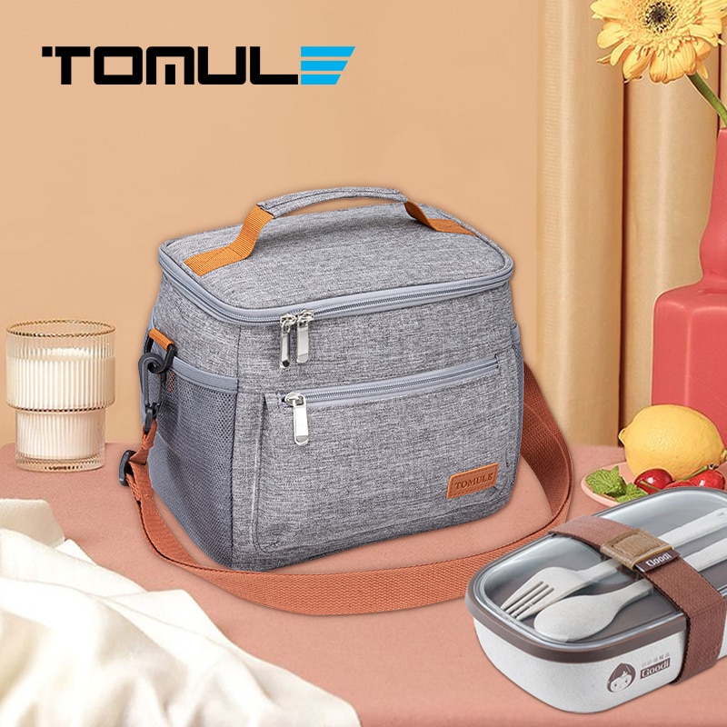 Tomule Thermal Lunch Bag Cooler Bags for Drink Picnic Portable  Waterproof Insulated Ice Pack Gray