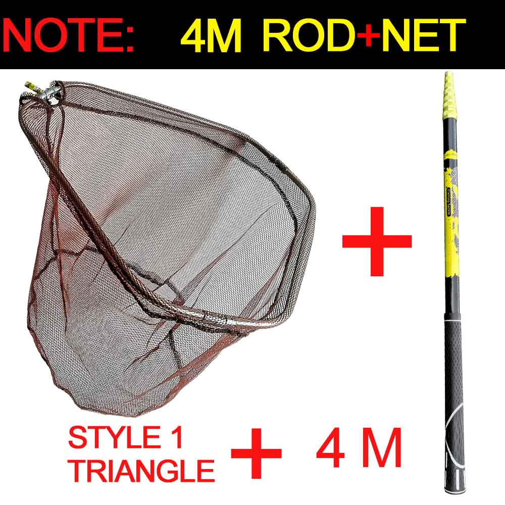 JOSBY 3m 4m 2,1 m red de pesca de alta calidad Red de aterrizaje de peces plegable telescópico Pole Handle malla duradera